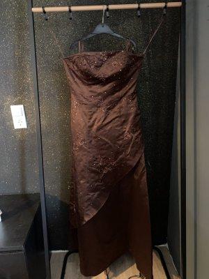 Kleid Niente braun lang trägerlos 38
