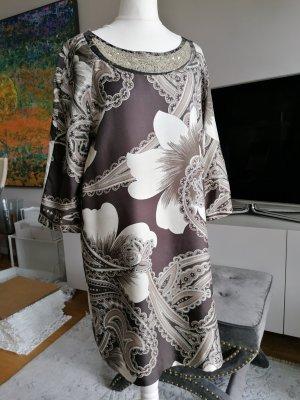 Kaftan w kolorze białej wełny-czarno-brązowy Jedwab