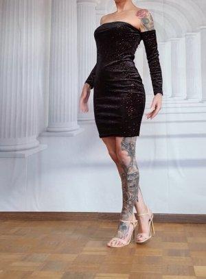 Kleid Off Shoulder Tally Weijl neuwertig S 34 XS schwarz glitzer Samt stretch