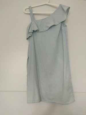 Kleid Oneshoulder in S/36 in hellblau, Jeansoptik