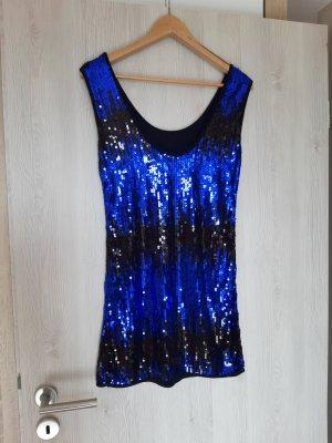 Kleid Pailetten blau schwarz Party Silvester