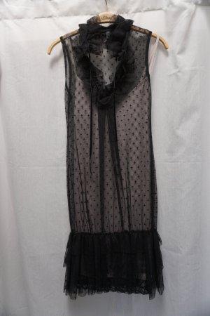 Kleid Please, schwarze Spitze, Unterkleid cremefarben, Rüschen