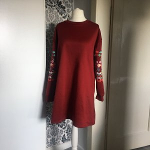 Kleid Pullover Gr. Ca 46 Max 48 Long Pullover rot mit Blüten