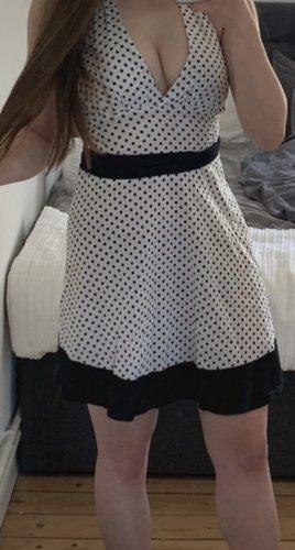 Kleid Punkte weiß neckholder feierliches Sommerkleid Boutique Italien Urlaub schwarz blau