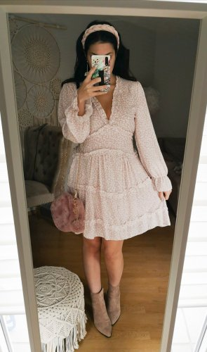 Kleid rosa Leo Volants Rüschen blogger hipster boho