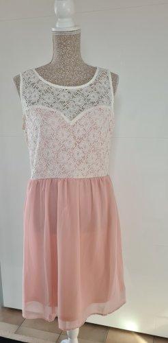 Keine Marke Koronkowa sukienka biały-jasny różowy