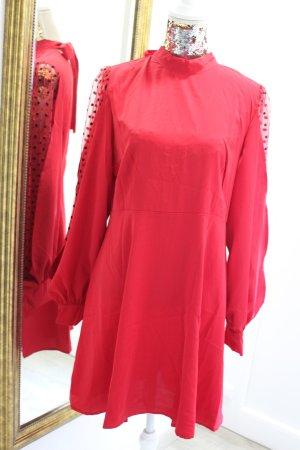Kleid Rot Langarm mit Chiffon Ärmeln Rückenfrei Neu Gr L