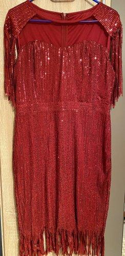 100% Fashion Vestido de noche rojo oscuro