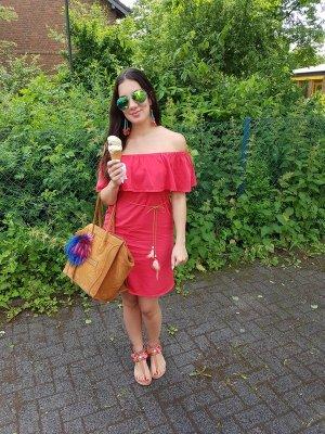 Kleid rot off shoulder Volants blogger hipster boho S Festival