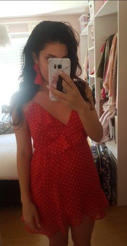 Forever 21 Vestido estilo flounce rojo-blanco