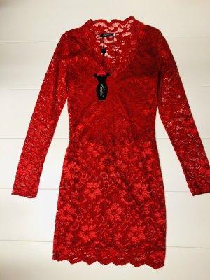 Kleid rot Spitze Gr S-M Stretch Cocktailkleid Abendkleid Partykleid
