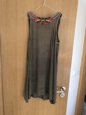 Kleid Rückenfrei, graugrün, Gr. M, Perlen, Pailetten