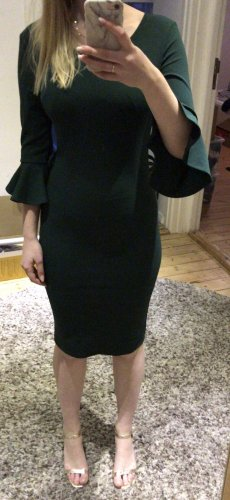 Flounce Dress petrol-dark green