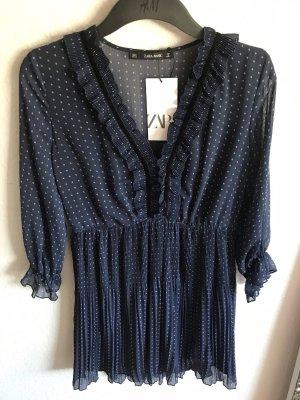 Kleid Rüsschen Blau Pünktchen tailliert