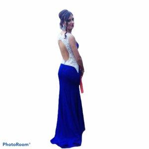 Lace Dress blue-white