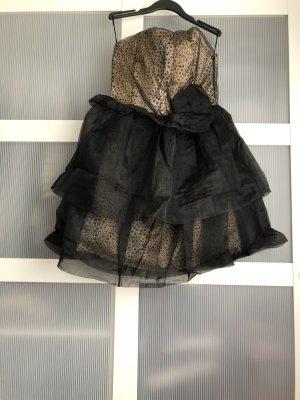 Kleid S schwarz braun beige
