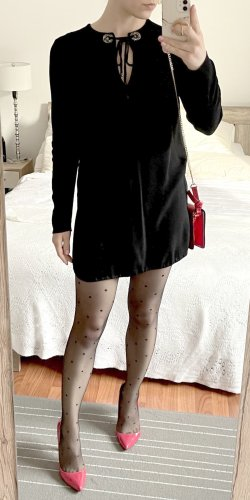 Kleid Sandro Paris Gr. 1 S 36 schwarz langarm mit Strasssteinen Minikleid