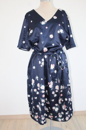 Kleid Satin dunkelblau Blüten Gürtel Gr. 44 Kurzarm
