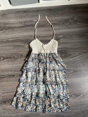 Kleid Schichten Sommerkleid neu Chiffon Blumen Muster Rosen blau weiß bunt