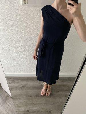 H&M Vestido de un hombro azul oscuro