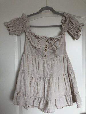 Kleid schulterfrei beige Shein