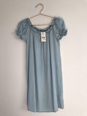 Kleid schulterfrei blau Gr. XS NEU
