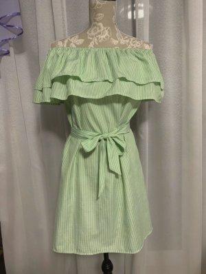 Kleid schulterfrei Volants weiß-grün gestreift Gr. S/36