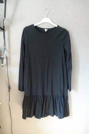 Kleid, schwarz, langärmlig, Asos, Basic, Rüschen, Jerseykleid