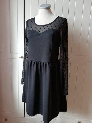 Kleid schwarz Langarmkleid Gr. M 38 Langarm Minikleid Punkte gepunktet