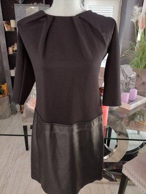 Kleid  schwarz mit Kunstleder