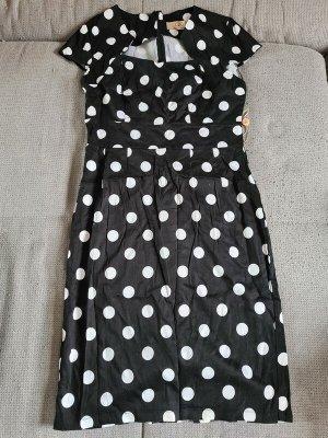 Kleid, schwarz mit weißen Punkten, Rockabilly Stil, M, neu