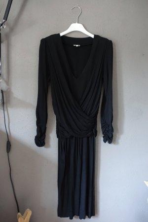 Kleid, schwarz, Schulterpolster, V-Ausschnitt, gerafft, sehr schön, Hoss, ungetragen