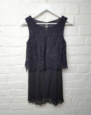 Kleid Schwarz Spitze Plissee Gr. S/ M