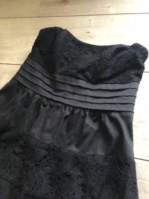 Kleid schwarz trägerlos mit Spitze Gr. 32