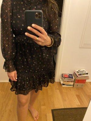 Vestido estilo flounce negro-burdeos