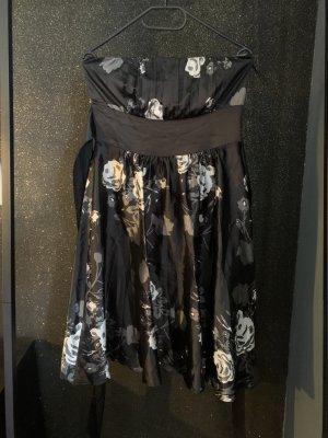 Kleid schwarz weiß Blumen trägerlos 38