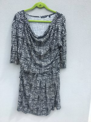 Blue Seven Stretch jurk wit-zwart Viscose