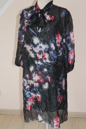 Kleid Seide Sisley Schleife Gr. 38 neu mit Etikett A-Form schwarz Blumen