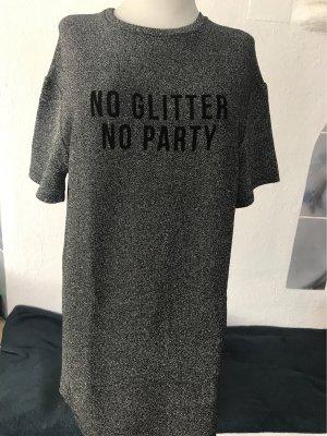 Kleid silber glitzer in Kurzarm in Länge 87 cm