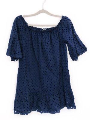 Kleid Skaterkleid Midikleid Schulterfrei Volant Baumwolle Sommerkleid Freizeitkleid Lochstickerei Blau Größe M Damen