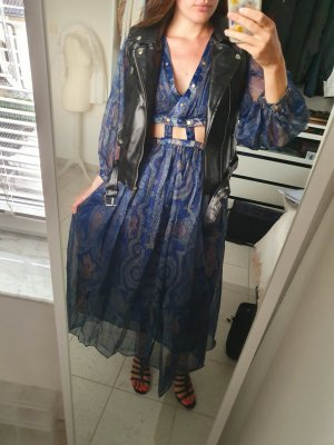 Kleid sommer cut outs bauchfrei Nieten Gold designer ornamente blau M S 36 38 Zara Mango