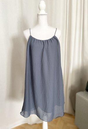 Kleid Sommer graublau fein Chiffon 34 36 XS S