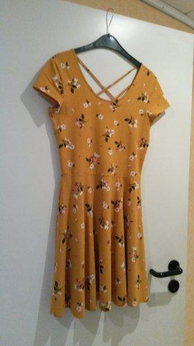 Kleid Sommer Kleidchen floral Blumen angesagt Blogger gelb - TOLLER RÜCKEN - NEU - M L
