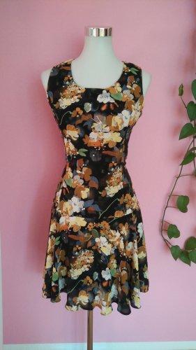 Kleid, Sommer, Luftig, Blumenmuster, Orange, Gelb, Türkis, Schwarz (Box 3)