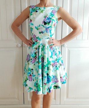 Kleid Sommerkleid 34 XS weiß blau grün lila violett Dress Blumen Blüten Flowers Rock