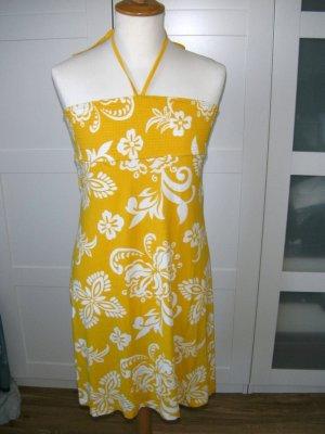 Kleid, Sommerkleid, Bandeaukleid, gelb mit Blumenmuster, H&M, Gr. S