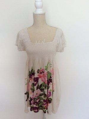 Kleid, Sommerkleid, cremefarben mit bunten Blumen, H&M, Gr. S/36, Bio-Baumwolle