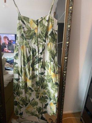 Kleid Sommerkleid gelb grün L Midikleid