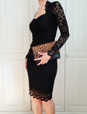 Kleid Spitze Abendkleid lace Dress Schwarz Blumen Goddess London lacedress spitzenkleid rock