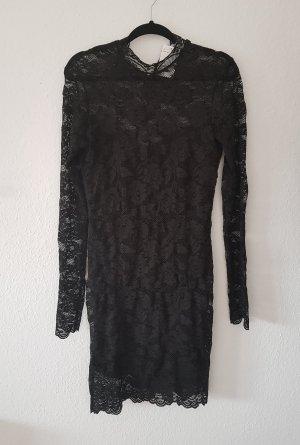 H&M Vestido de encaje negro Fibra sintética